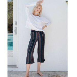Sundry Wide leg Cropped Striped Navy Pants NEW